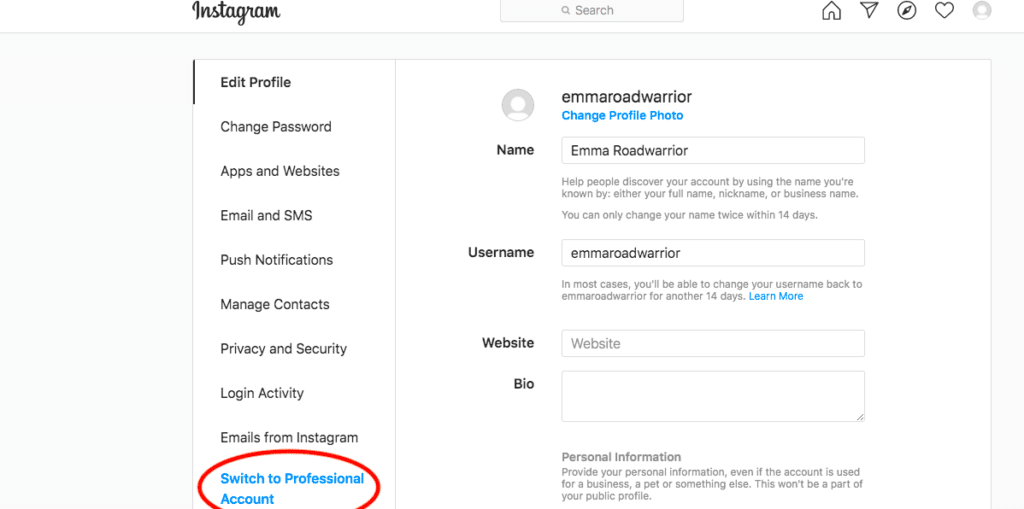 instagram profile settings with professional account option circled